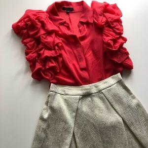 100% silk Rachel Zoe shirt with statement sleeves